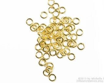 Gold Jump Rings 3mm  - 3 mm 20 Gauge Gold Plated Brass Jump RIngs - Open Jumprings - Pack of 100 Goldtone Jump Rings - Ships FAST from USA