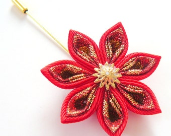 Kanzashi  fabric flower brooch . Red and gold kanzashi flower lapel pin. Boutonniere lapel pin. Red and gold flower boutonniere.