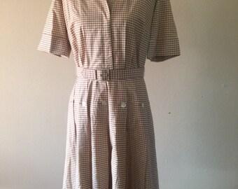 Vintage Tan and Check Dress