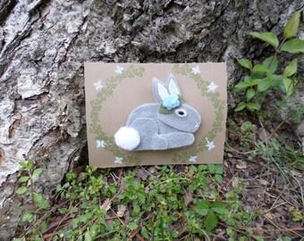 Woodland Forest Felt Bunny Hair Clip