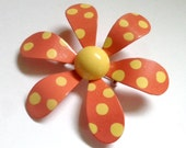 Coral Enamel Flower Brooch Retro Daisy Metal Flower Pin Coral and Yellow Polka Dot Enamel Brooch Wedding Brooch Bouquet or Wear