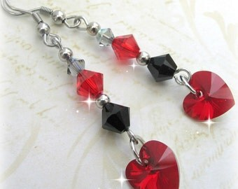 Red and Black Earrings,Swarovski Crystal Earrings, Gift Idea for Her, Valentines