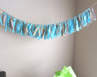 Bohemian Decoration Spring Fabric Banner Nursery Decor garland Tattered Rag Garland Party Banner Teal Orange Photo Prop Banner