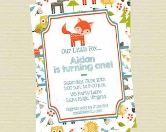 Woodland Animals Birthday Invitation, Boy Woodland Invite, Forest Animals Birthday Invitation, Printable File