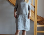 Linen dress Round neckline dress Grey Olive linen dress Ready to Wear Size M