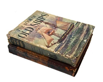 Set of 2 Large Nautical Books:  The Book of Old Ships 1924 and The Pictorial History of American Ships 1953