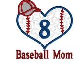 Baseball Mom Embroidery Design, Machine Applique Monogram Frame, 3 size design, No number included on baseball