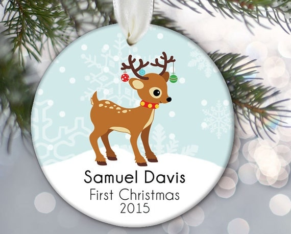 Baby 39 s first christmas ornament baby boy or girl deer or for Babys first christmas decoration