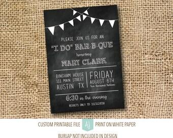 "Bridal Shower Invitation, Chalkboard ""I Do Bar B Que"" Invitation- Chalkboard Shower Invite- Printable File"