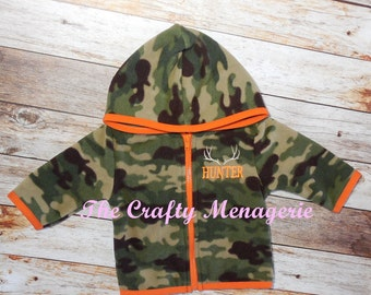 Personalized Baby Camouflage Jacket, Hooded Baby Jacket, Personalized Baby Jacket, Fleece Hooded Baby Jacket