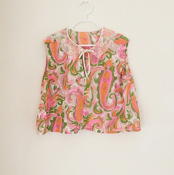 Mod Top/Girls Top/Vintage/60s/Pink/Paisley