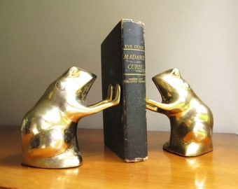 Vintage Brass Frog Bookends, Brass Figurines, Brass Bookends, Gold Frog Book Ends, Pair of Frogs, Toad Bookends, Frog Figurines