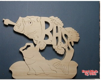 Large Mouth Bass Wood Puzzle Cut On Scroll Saw