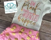 Pink and gold Baby infant toddler girl onesie, t shirt short and headband set  I am proof miracles happen!