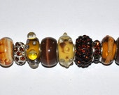 Lot of High Quality Handcrafted Brown Tan Murano European Beads