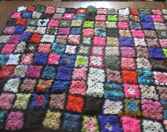 Colorful Handmade Granny Squares Afghan Throw Vintage Throw