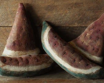 Primitive Grungy Watermelon Slices