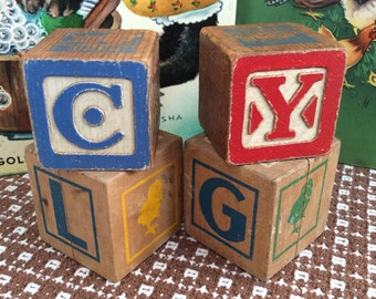 Vintage children's wooden blocks