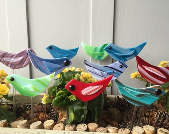 Fused Glass Bird Plant Stakes