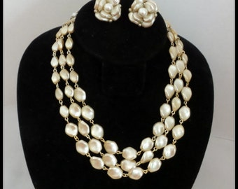 Vintage faux Pearl Necklace and Earrings