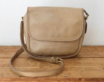 COACH Crossbody Small Messenger Bag/ Vintage Light Tan Putty Coach Flap Saddle Bag Purse