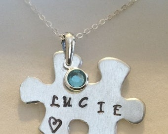 Personalised girls ANY NAME jigsaw pendant necklace in gift box