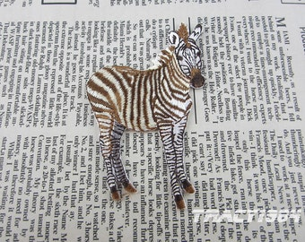 Brown Fabric Zebra Embroidered Applique Iron On Patch