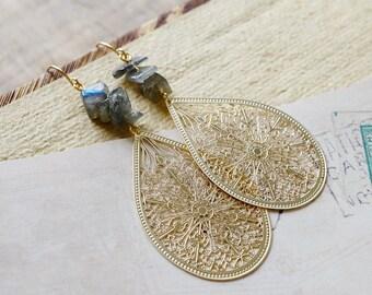 Gypsy Chandelier Earrings, Labradorite Chips Gemstone Teardrop Filigree Chandelier, Gypsy Moonchild Gift For Her, Earrings
