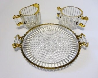 Jeannette Glass National Creamer Sugar and Serving Platter with Gold Trim