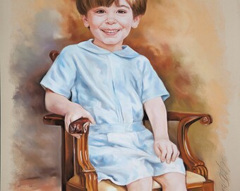 Pastel portrait of child, 3/4 portrait
