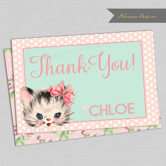 Vintage Kitten Birthday Party Thank You Card, printed or digital copy, kitty, floral, pink and mint green, shabby chic