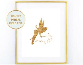 Gold Foil Tinkerbell Print - Child Nursery Bedroom Decor Paper in Foil Print in Real Metallic Foil