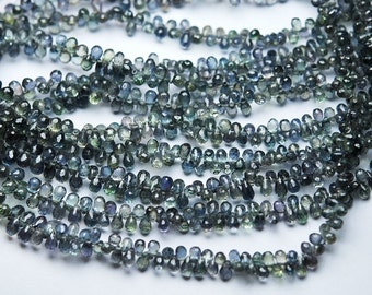 7 Inch Super-FINEST- Natural AAA GREEN Sapphire Micro Faceted Drops Shaped Size 4-6mm approx