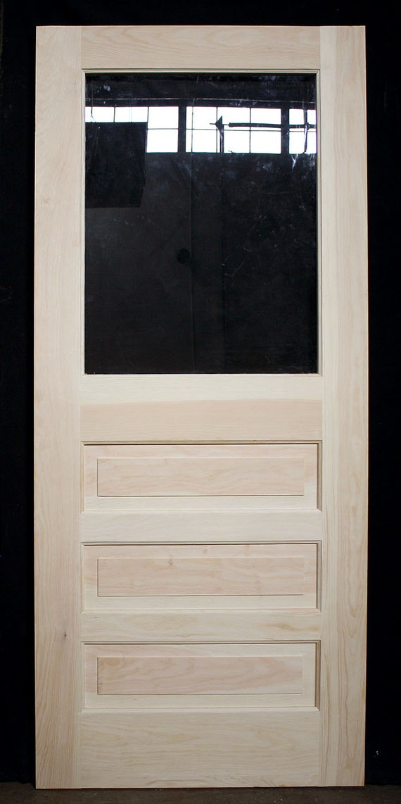 New exterior solid wood wooden entry back side door for Exterior back door with window