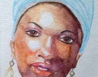 Watercolor Portrait of Lady with Headwrap, Ethnic Art, Woman's Portrait