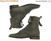 FINAL BOOTS SALE New! Janis, dark stone  Boots, Leather Boots, Grey Boots, Flats, Handmade Shoes