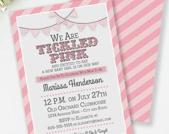Tickled Pink Baby Shower Invitation, girl baby shower, Pink Baby Invitation, Couples Shower Invite, Digital Party Invite, #B6
