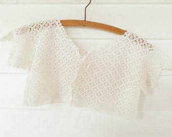 """Vintage 1900-10s Short Camisole - Off-white Crochetwork - Over the Head - Fabric Ribbon Tie - 30"""" Bust - Fashion History - Ready to Wear"""