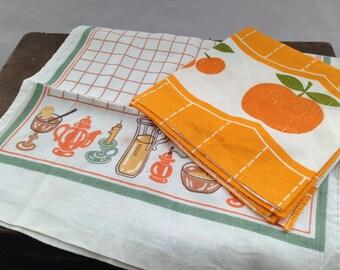 Vintage Soviet towel set Yellow orange towel set Kitchen towel Russian dish towels USSR era towels
