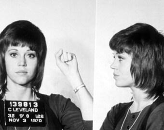 Jane Fonda mug shot, feminist, girl power,  Black and white, old, vintage antique, photography, picture, print, fine art