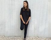 Short sleeve oversize shirt-Black dress-Shift Dress-Boat neck shirt-loose shirt