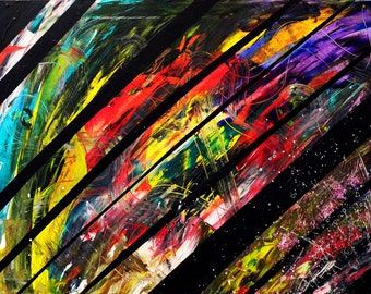 Colorful Striped Abstract Acrylic Painting 36x24""