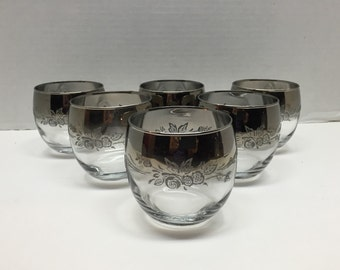 Set of 6 Silver Ombre Roly Poly Queens Lustreware Cocktail Glasses with Floral Motif - Mid Century Modern