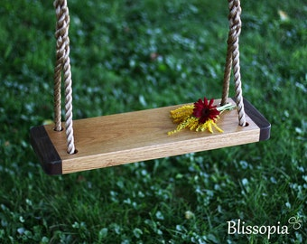 Oak Wood Tree Swing, 2 Tone Swing