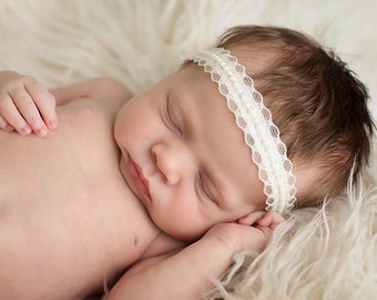 Pearl Newborn Headband.Baby Christening Headband.Newborn Photo Prop.Baptism Headband.Pearl Headband.Lace Headband.Halo Headband.Halo Prop