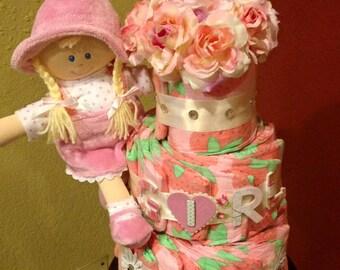 Sweet girl strawberry diaper cake