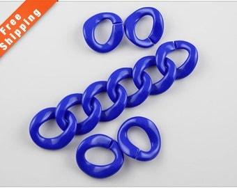 Free Shipping - Blue Chain Links, Acrylic Chain Links, Royal Blue Plastic Links, 30x33mm, Pkg of 50PCS, L0BI.BL55.P50