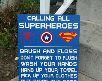 Attention all Superheroes bathroom rules, Bathroom Decor, Spiderman, Captain America, Superman, Superhero Decor