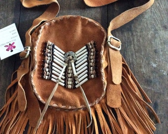 Round suede fringe bags