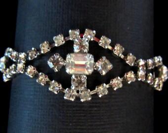 Double strand rhinestone bracelet in polished silvertone setting - super sparkle for bride - wedding - New Year's Eve -  Free U.S. Shipping